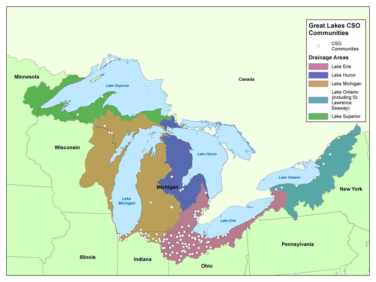 Michigan Map With Cities And Lakes.Garret M Ellison On Twitter Epa Map Of Great Lakes Basin Cities