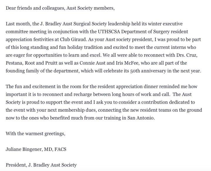 Aust Surg Society On Twitter Letter From Dr Juliane Bingener