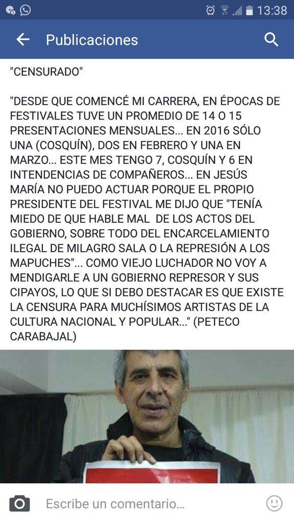 Gravísimas las declaraciones de Peteco Carbajal: https://t.co/GJQGYVg11z