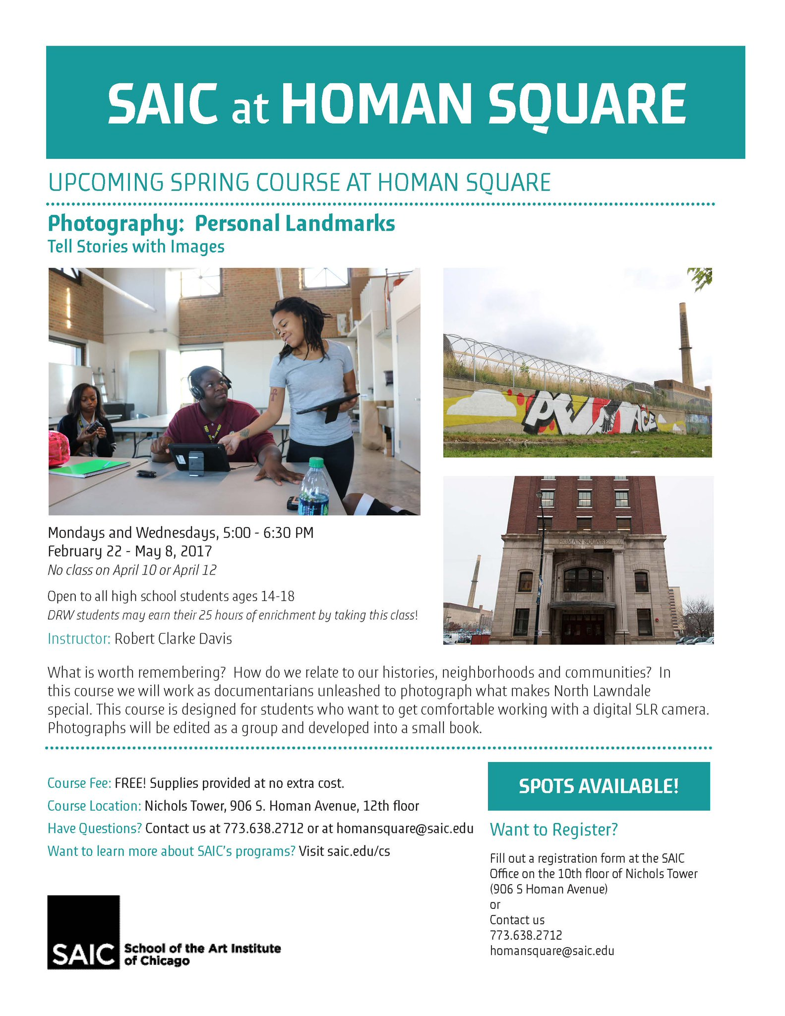 Saic At Homan Square On Twitter Dslr Digital Photography Course Available To High School Students At Our Nichols Tower Classroom Begins Feb 22 Reserve Your Spot Now Https T Co B8rmmliwtr