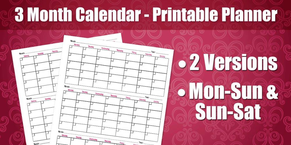 3 Month Calendar - Printable Planner Page #planner #calendar  http:// bit.ly/1POsist  &nbsp;  <br>http://pic.twitter.com/Nrt7sRSRhY