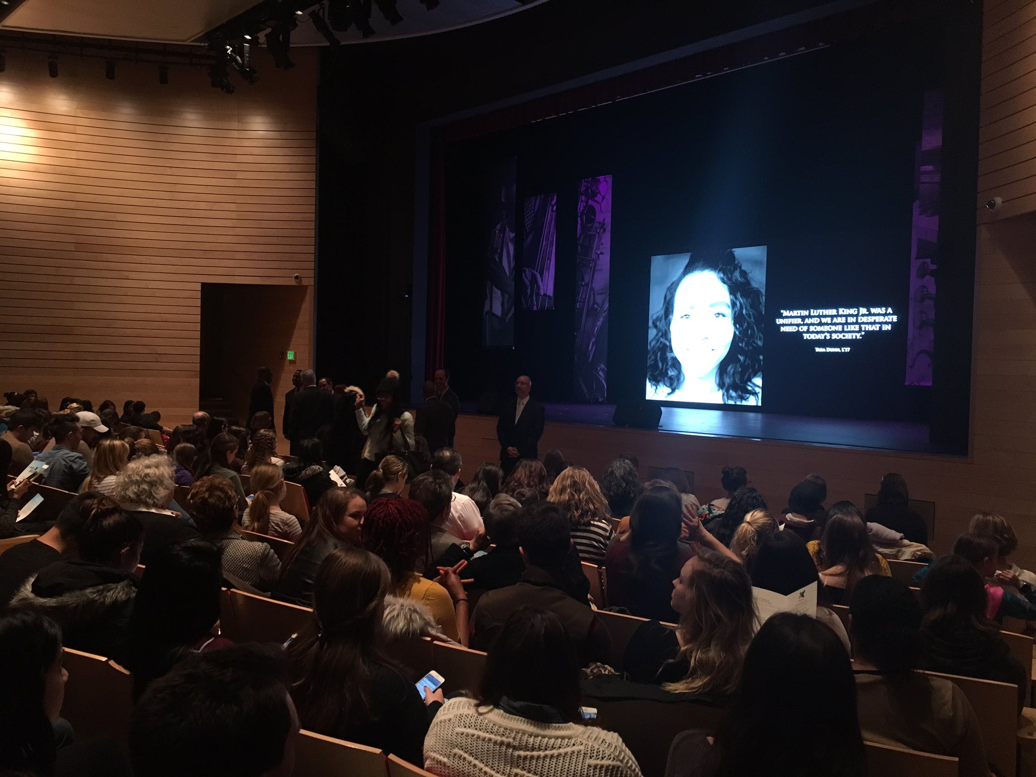 Blackman is filling up @Northeastern! We're excited for 'A Tribute to the Dream' featuring @reneeelisegolds #MLK https://t.co/r9aKs22GkP