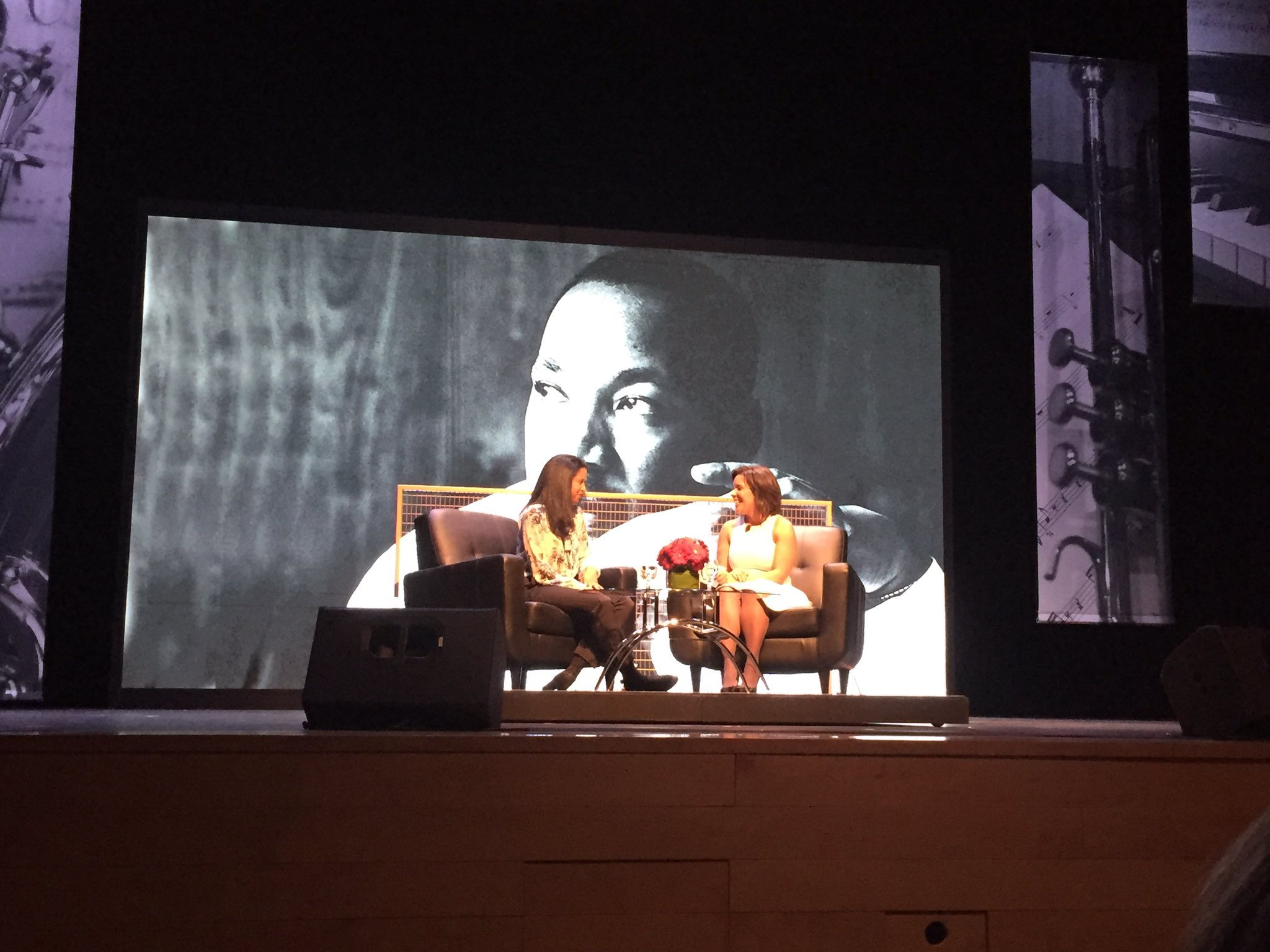 We are now hearing from Renee Elise Goldsberry from #Hamilton #MLKDAY @Northeastern https://t.co/MpK1fIruMS