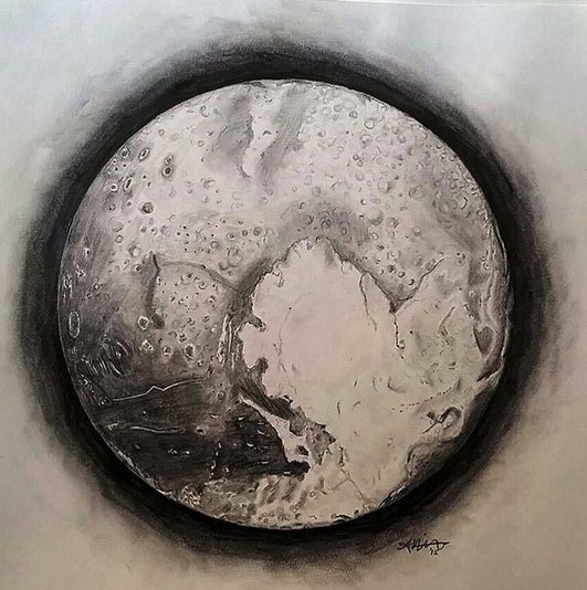 #PlutoArt  RT @exploreplanets: We are really drawn to the beauty of Pluto.  Art by TPS fan Ashley Wilkinson https://t.co/TYmenmAEi6