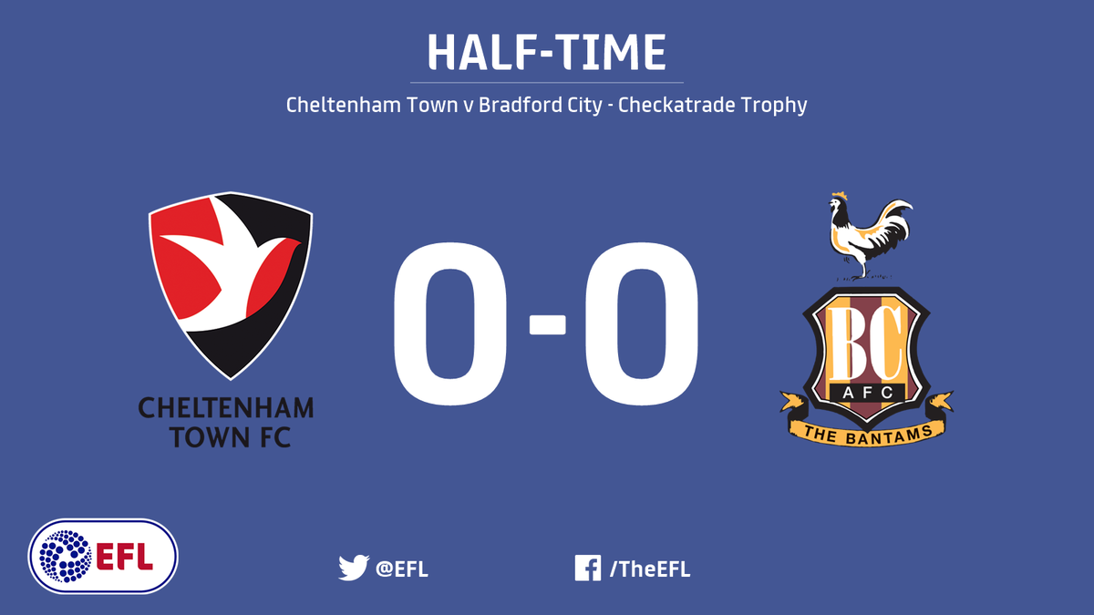 Half-time!   It's all-square at the break between @CTFCofficial and @o...