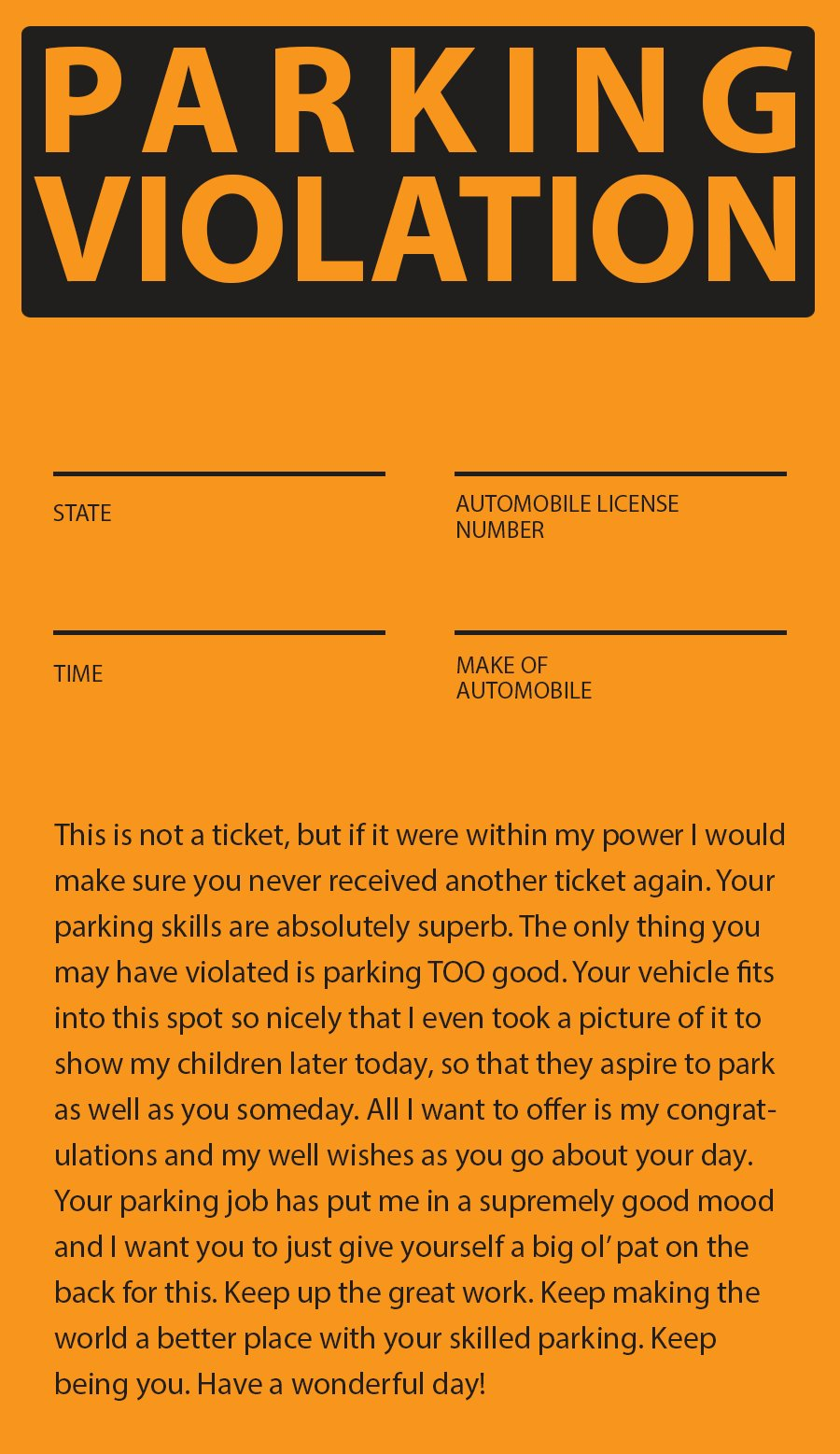 Influential image in fake parking ticket printable
