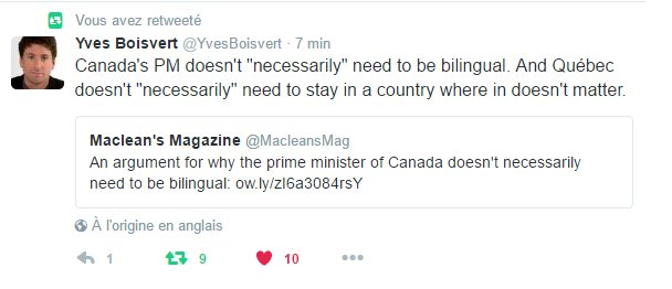 Quand Yves Boisvert de La Presse perd patience avec le Canada et écrit un tweet indépendantiste.. #PolQc #PaysQc #Médias<br>http://pic.twitter.com/N3RP4JRw2M
