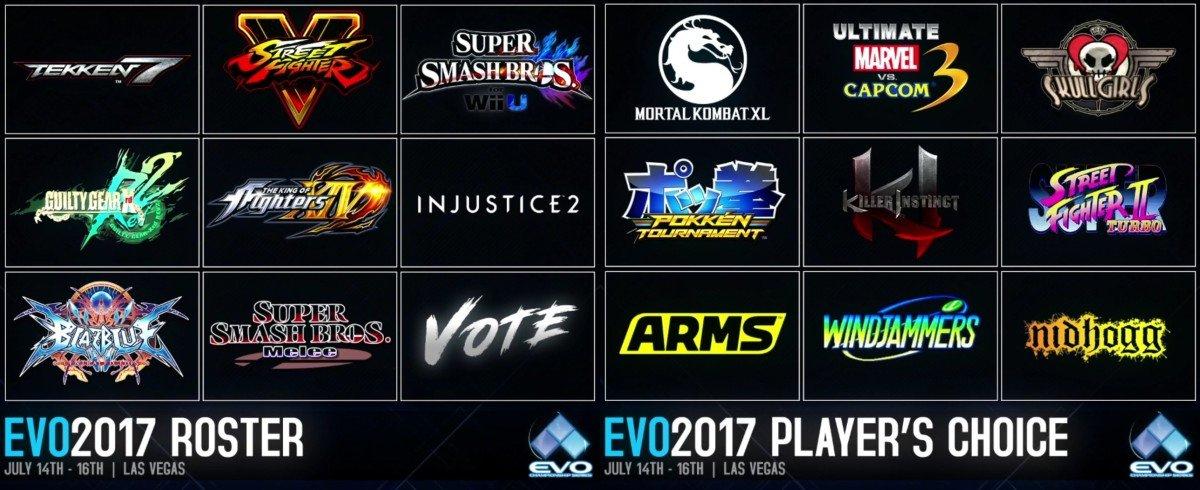 【EVO2017】 メイン種目(暫定)  ストリートファイターV ギルティギアXrd REV2 大乱…