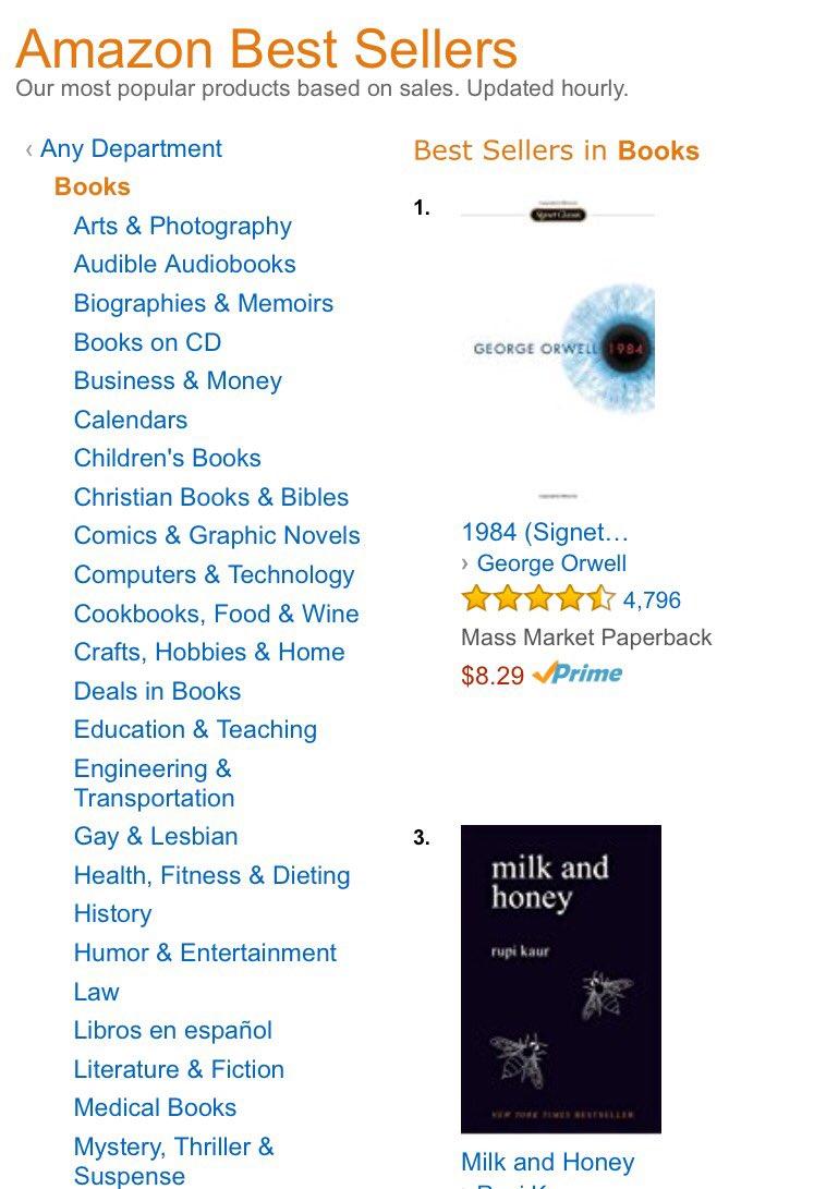 """Orwell's book """"1984"""" is now No. 1 on Amazon's bestsellers list https://t.co/G1rEg9WZ9b https://t.co/DCbykTAZAJ"""