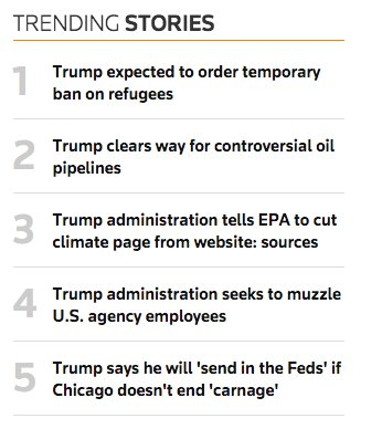 This is all from Day 3.   #resist  image: @Reuters trending stories. https://t.co/RRvSZN4etQ