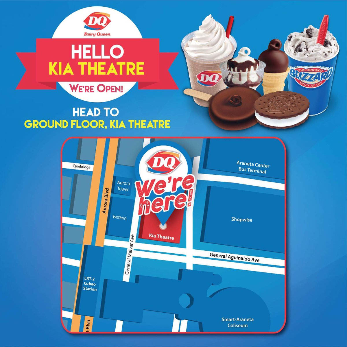 Yay! We are thrilled to have another new DQ Store! Visit us at our newly opened store in Kia Theatre. See you there! #DairyQueenPH https://t.co/kNcg9y6H4V