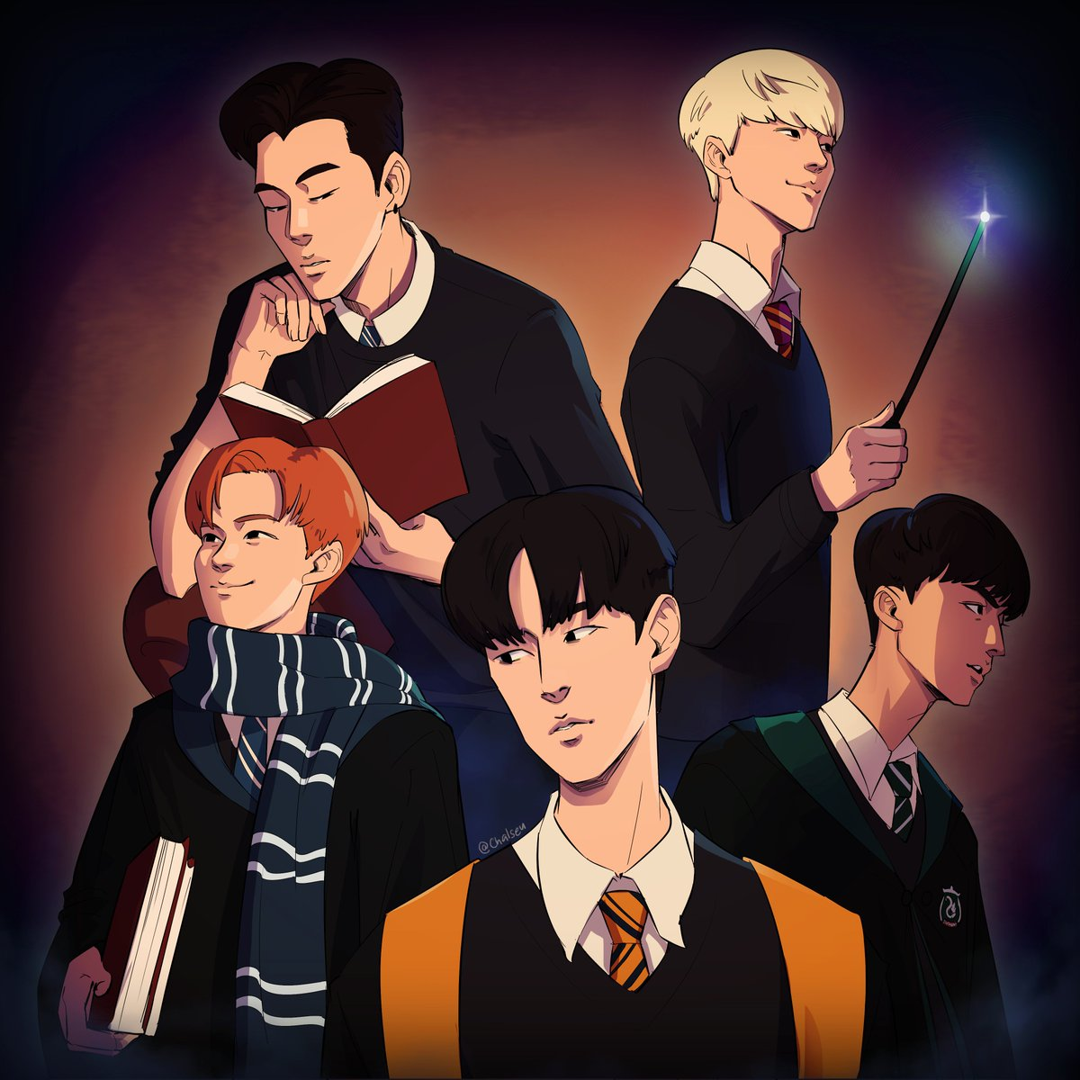KNK as wizards attending Hogwarts. #chalseu #knk #knkfanart #heejun #seungjun #jihun #youjin #inseong<br>http://pic.twitter.com/TsnrWxGqtx