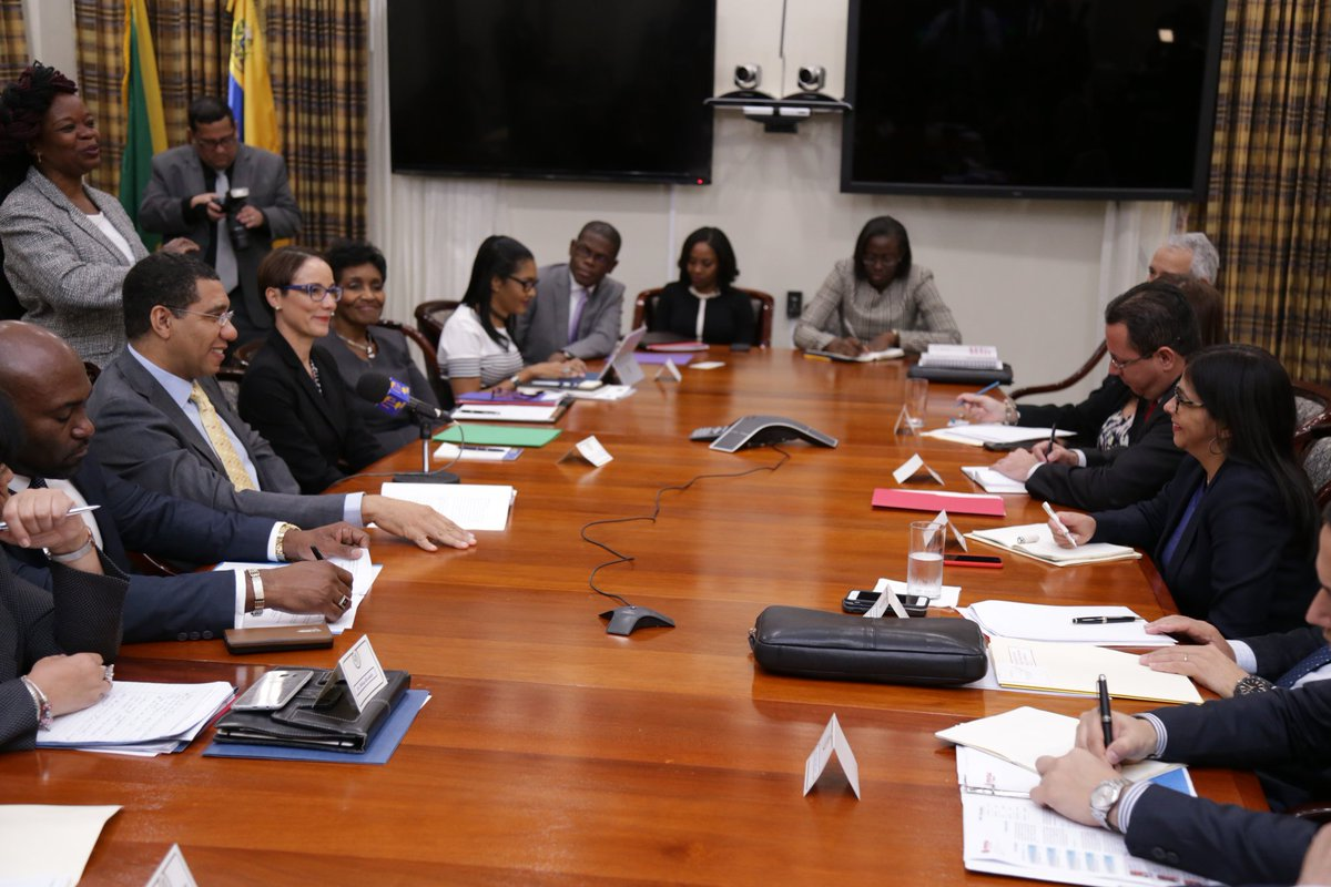 andrew holness on today i met minister of foreign andrew holness on today i met minister of foreign affairs of venezuela delcy rodriguez and her team to further discuss trade between our