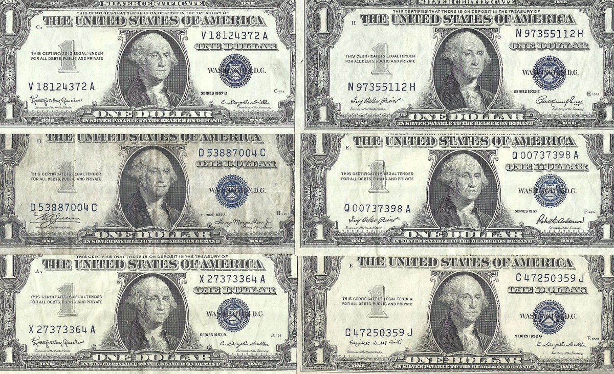#PaperMoney 1935 &amp; 1957 $1 #Silver Certificates! 6 Notes! CRISP VF! Old US #Paper #Money!  http:// dlvr.it/N7kw0d  &nbsp;   #eBay #Auction<br>http://pic.twitter.com/rcj0ikqDvN