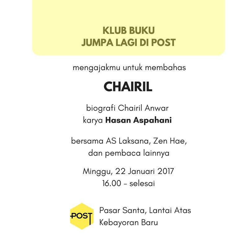 Ayo membicarakan Chairil Anwar.  Cc @jurubaca @post_santa https://t.co/GzkpUX9AKi