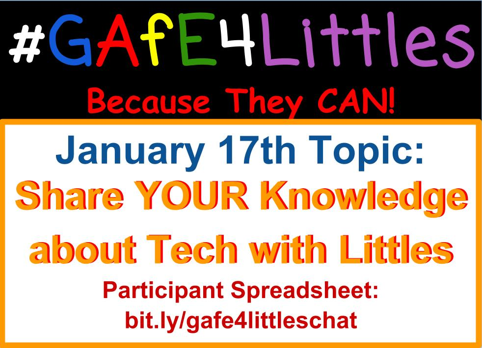 Welcome to the #gafe4littles chat! Kinder T Pinto here & I will be moderating today's chat! Share what grade(s) you work with/devices Ss use https://t.co/k89nscxnEJ