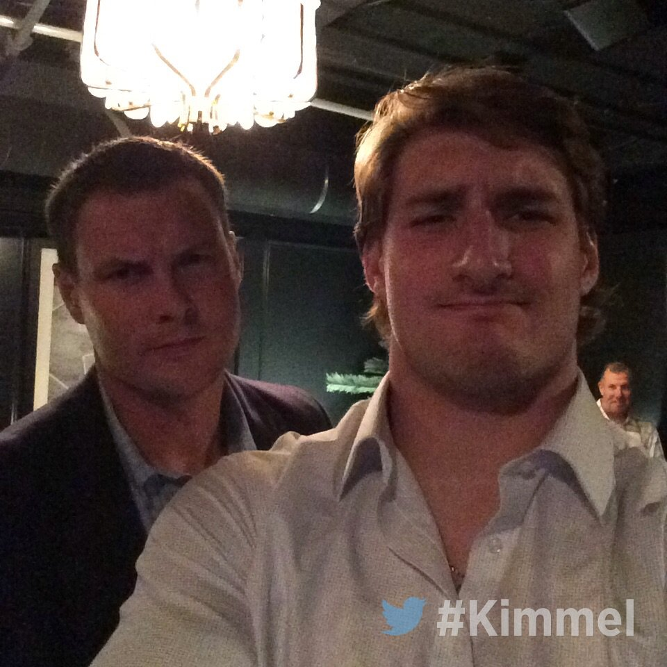 Backstage at #Kimmel with Philip Rivers & Joey Bosa @JBBigBear #Chargers