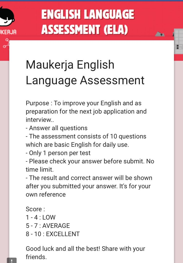 maukerja on twitter sebelum ke interview kerja test level maukerja on twitter sebelum ke interview kerja test level korang dengan try maukerja english language assessment ni