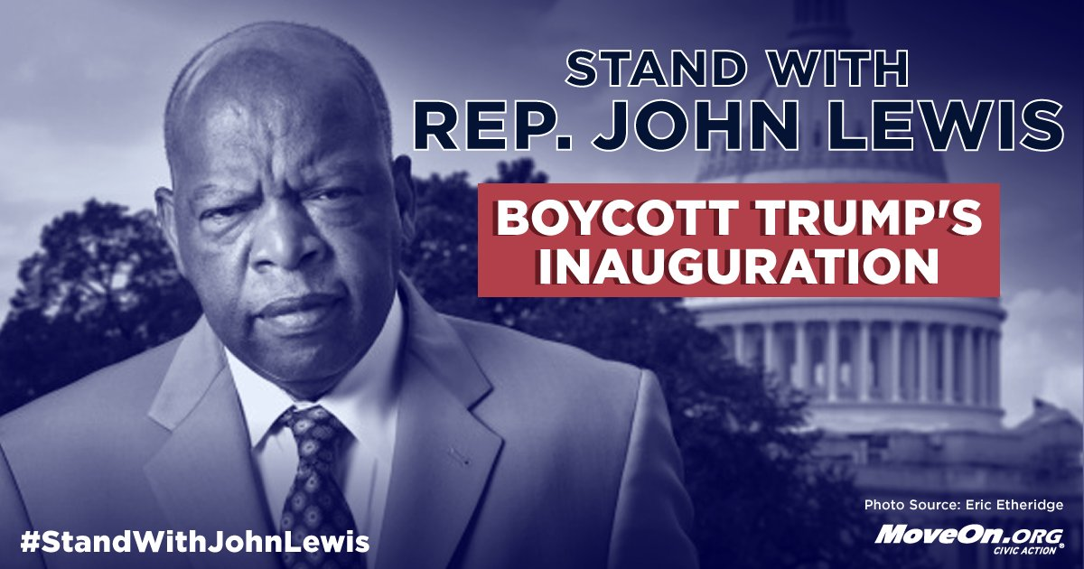 #BoycottTrump&#39;s Inauguration &amp; #StandWithJohnLewis:  http:// bit.ly/2jX0wl1  &nbsp;   #Resist #UnitedResistance<br>http://pic.twitter.com/sPLYofCLfb