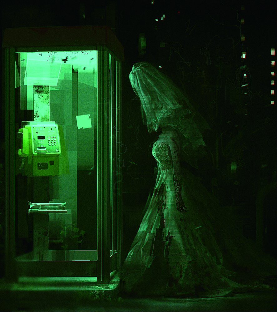 友野るいさんに描いて頂いた【死印】のパッケージイラスト。深夜にうろつくウェデングドレスの女性・・よく見るとシルエットが異様な感じです。ヴェールの中身が気になります。( ゚Д゚) 空気感の素晴らしいイラストですね。 https://t.co/HIPhzCVemk