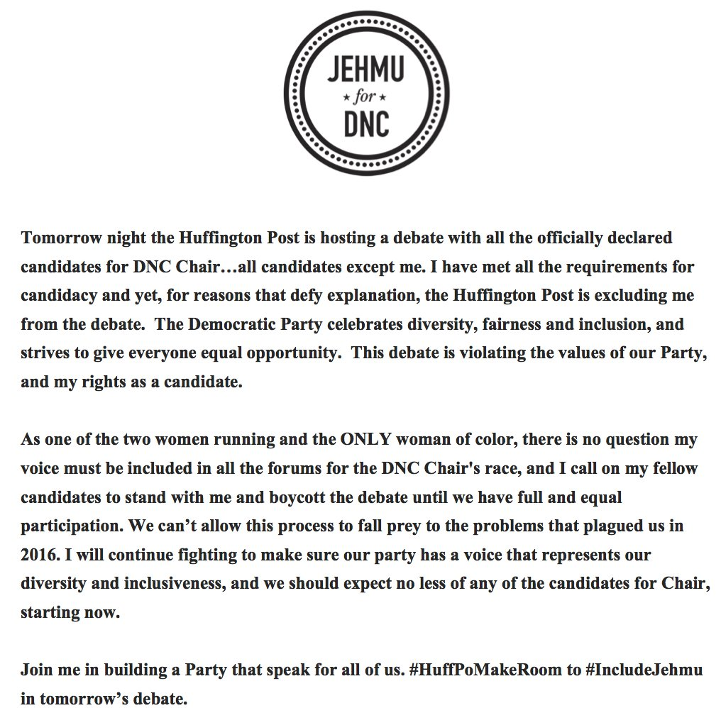 My thoughts on being excluded from the @HuffingtonPost DNC Chair Debate. https://t.co/huGRyrCxhd