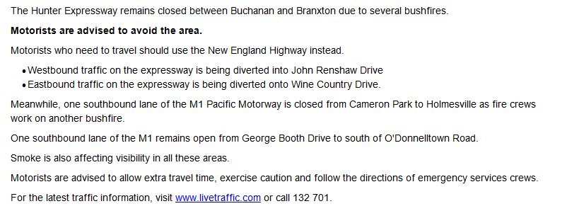 Update: the hunter expressway remains closed between