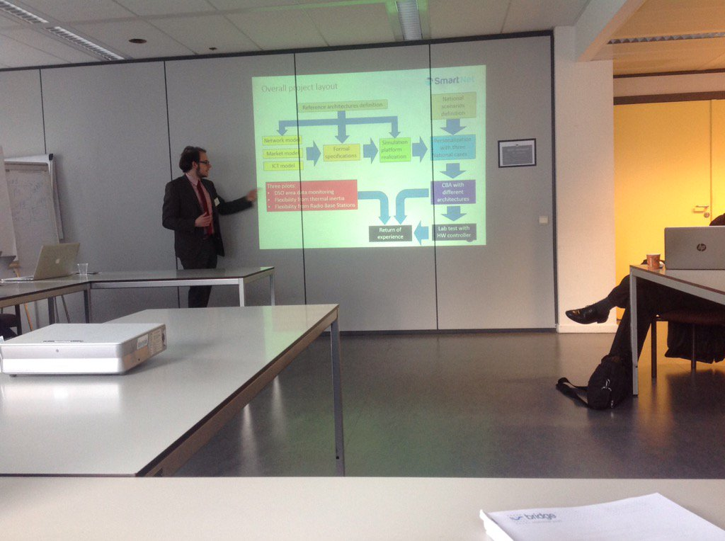 Oliver presenting @SmartNetProject in #BRIDGE_EU  Regulations group meeting @EU_H2020 co-work #TSO-#DSO https://t.co/WXoBN23D4p