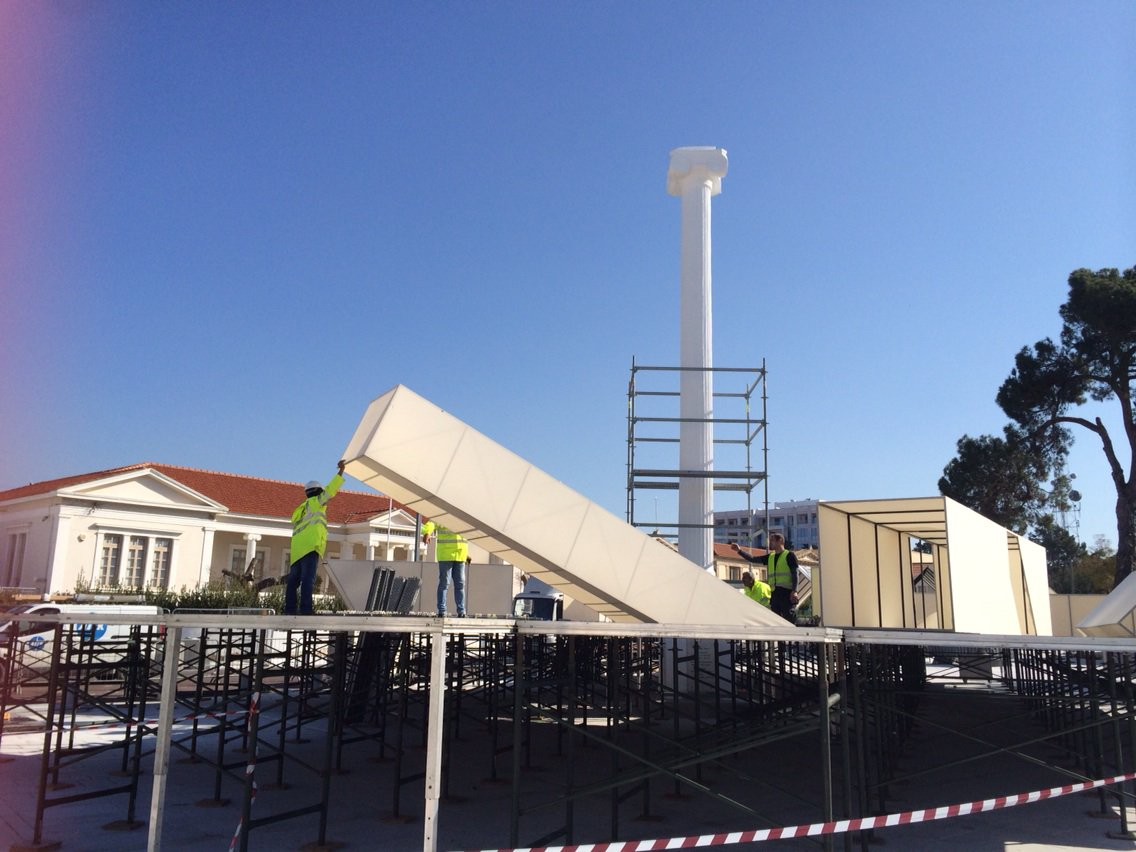 Set under construction in #Pafos for next week's opening @pafos_2017 #wtpbehindthescenes #Cyprus @europe_creative https://t.co/m0Fker7TKC