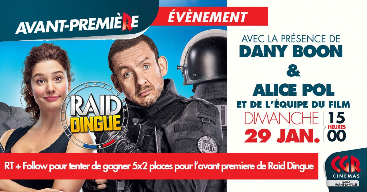 #Concours #RT #FOLLOW Gagnez 5x2 places pour #RaidDingue en présence de #danyboon @DanyBoonNews et @alicepol2 @PatheFilms<br>http://pic.twitter.com/nVppeoRQZu