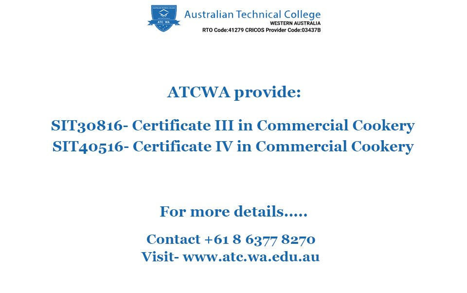 #ATCWA offers   SIT40516-Certificate IV in Commercial #Cookery   #Read More -  http:// bit.ly/2bJM1J5  &nbsp;     #Call Us- +61 8 6377 8270<br>http://pic.twitter.com/bbNH6GlDus