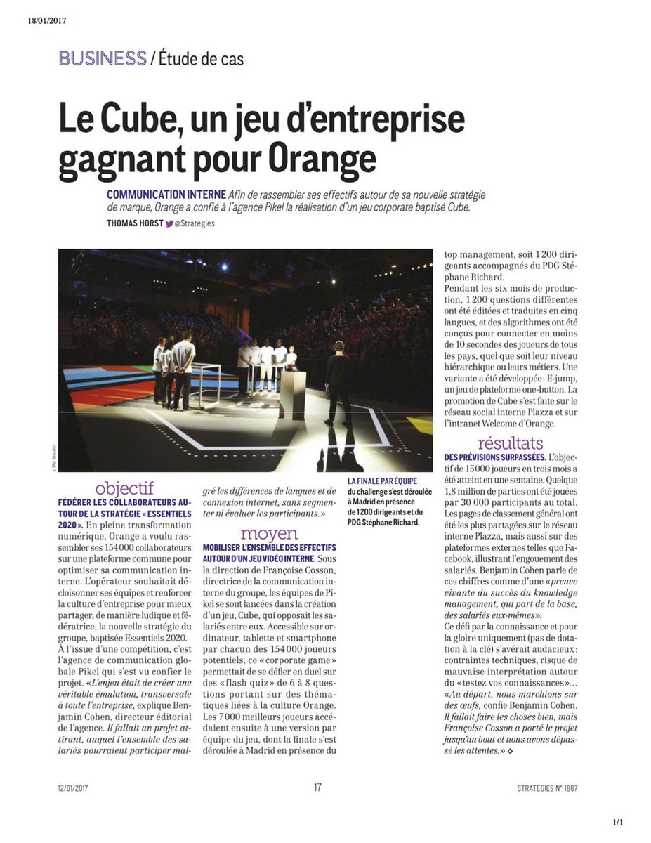 Cube, étude de cas de la semaine dans @Strategies ! #Cube #Communication #CorporateGaming #Orange #Pikel #Agency #Presse #Strategies @orange<br>http://pic.twitter.com/v8hELsOfQ7