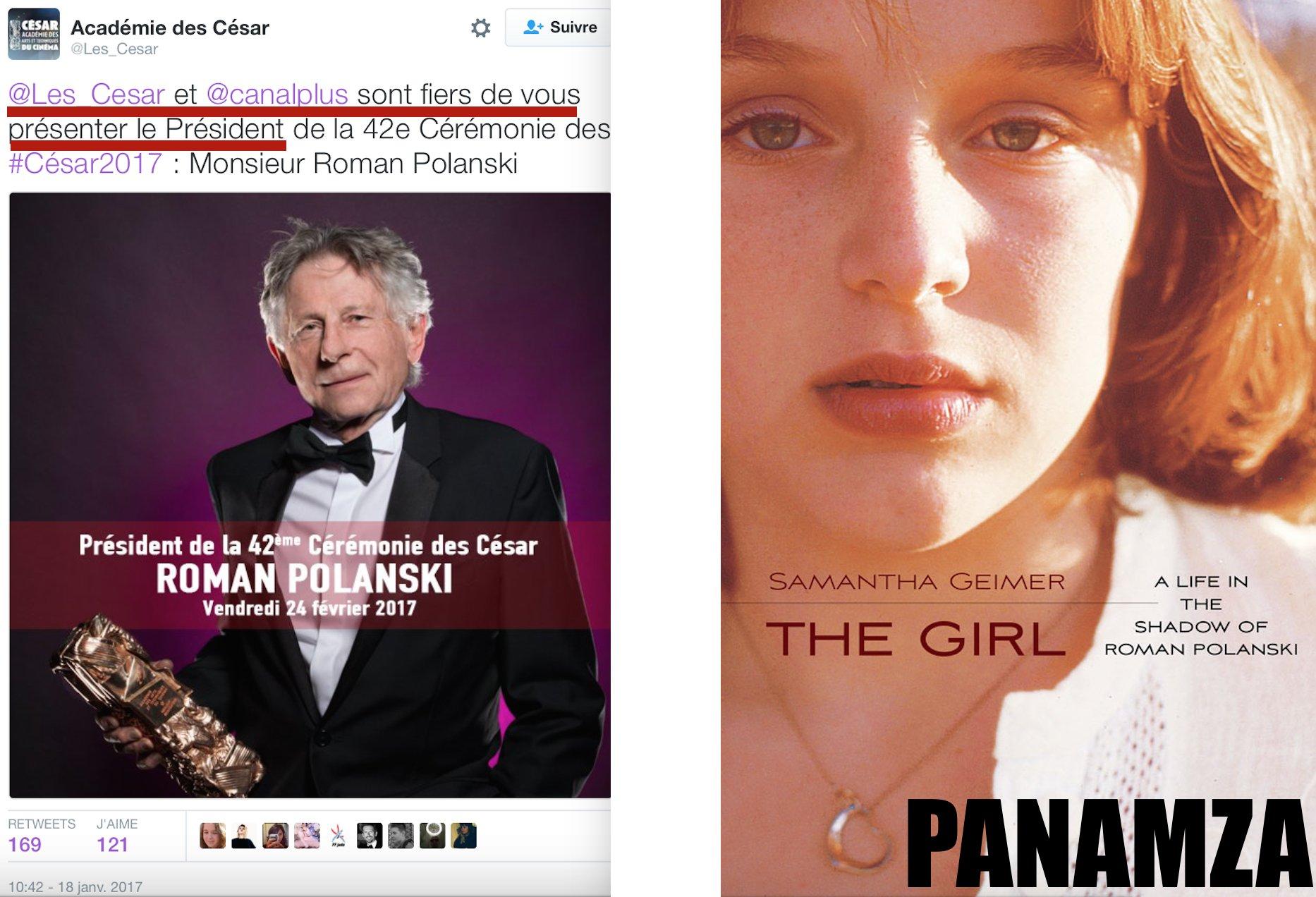 1977 : Polanski viole une mineure. 2017 : Polanski est honoré par le cinéma français