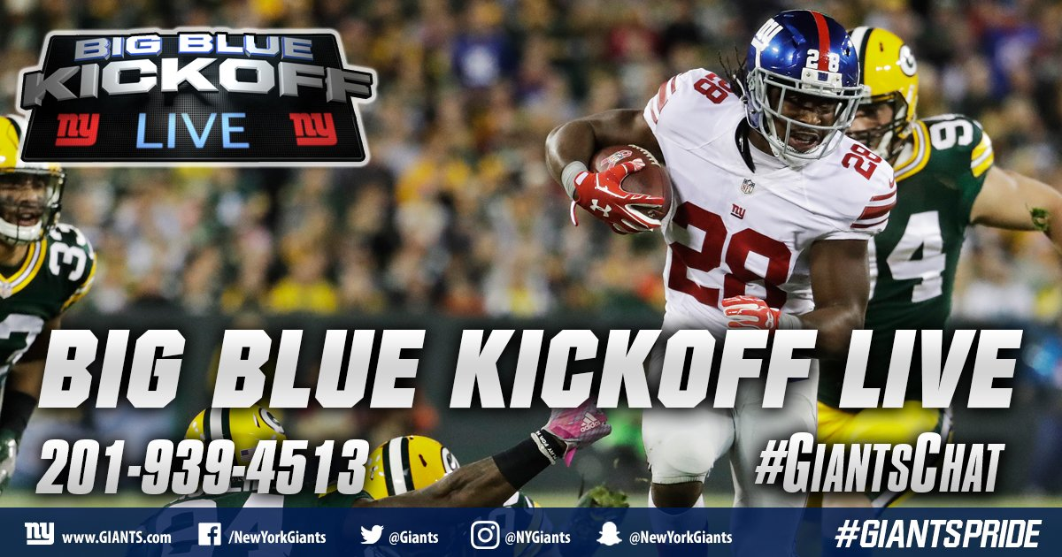 Big Blue Kickoff Live will air at 12:00 PM ET on  http:// Giants.com  &nbsp;   and Giants App! #GiantsChat <br>http://pic.twitter.com/lb34E0RFYu