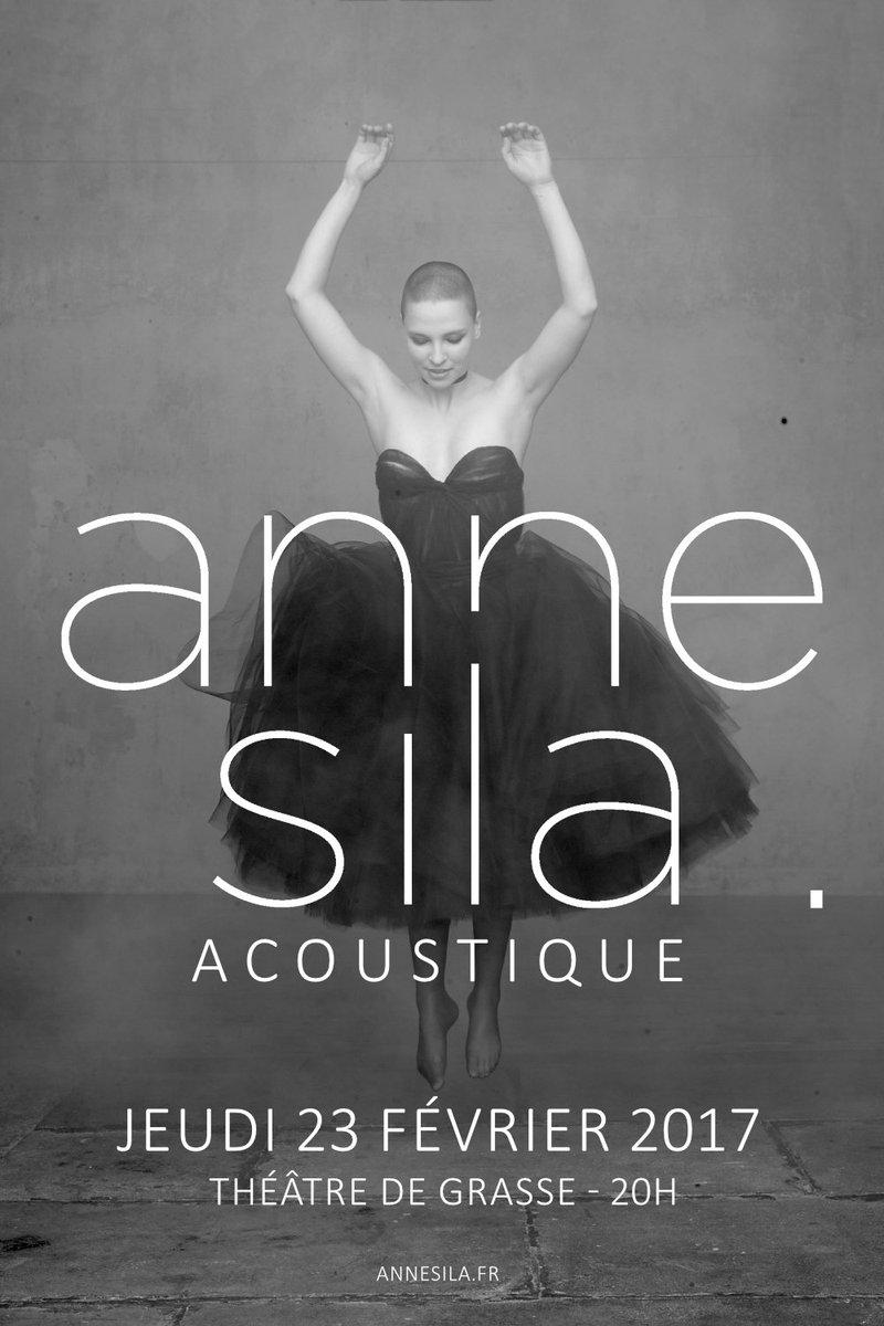 [#MUSIQUE] La merveilleuse #AnneSila sera en concert #acoustique le jeudi 23 février à 20h au théâtre de #Grasse  http:// bit.ly/2jKh5gD  &nbsp;  <br>http://pic.twitter.com/E0RI2ETccy