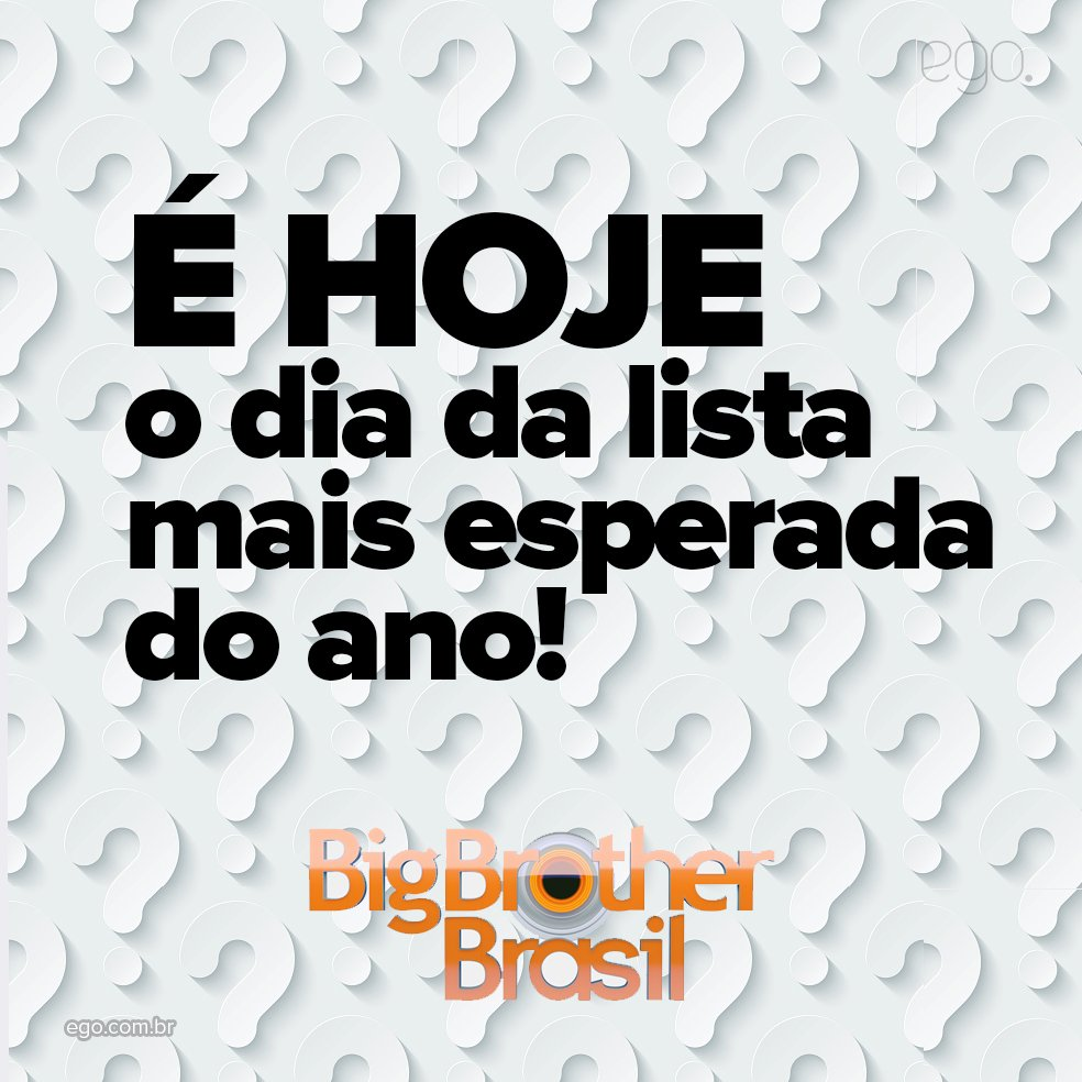 É HOJE QUE A LISTA É DIVULGADA!! #BBB17 https://t.co/TtvaiJCPot https:...