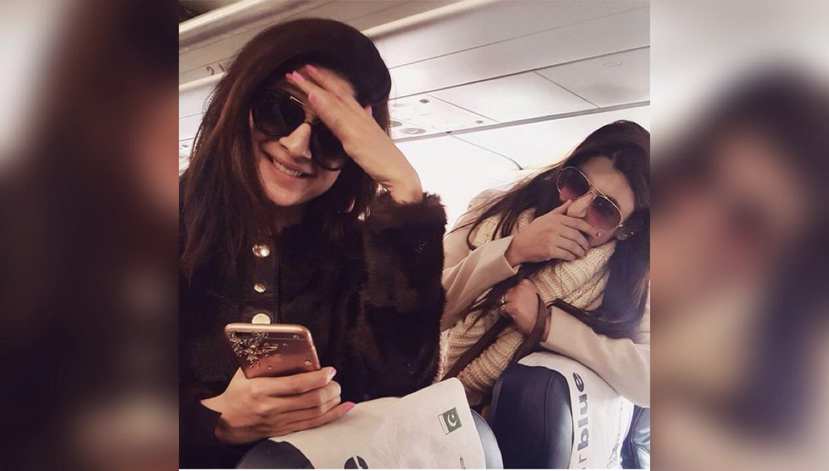 @MawraHocane n @VJURWA on flight flying together ❤️😍😘 #sisterhood #Squ...