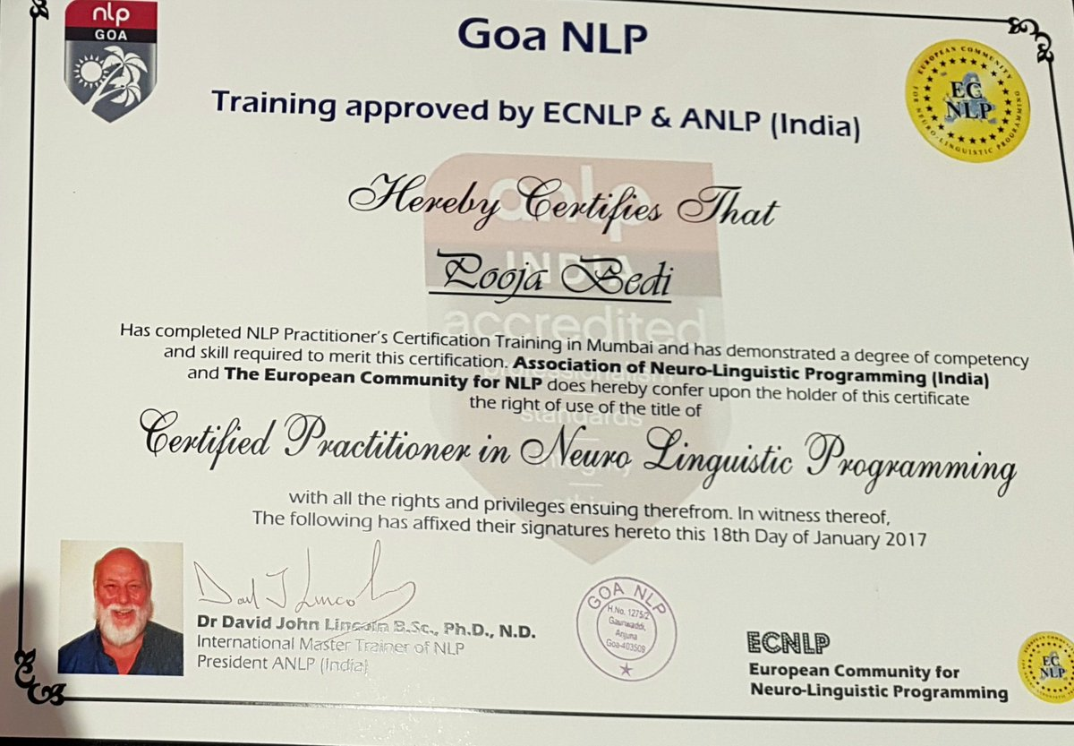 Pooja Bedi On Twitter Finally Im Now A Certified Neuro Linguistic