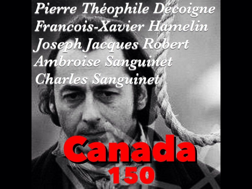 Ces 5 patriotes pendus le 18 janvier 1839. #Histoire du #Canada150  <br>http://pic.twitter.com/aNgZxvrRo9