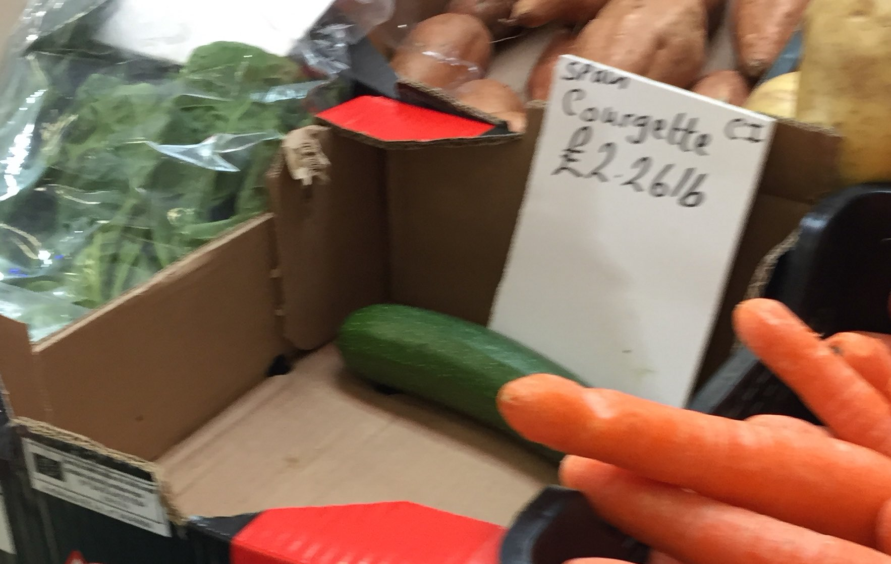 The #courgettecrisis reaches #Cornwall - veg seller in #Truro's Pannier Market paid £23 for a box at the wholesalers - normally it's £8! https://t.co/3ffwD1QR13