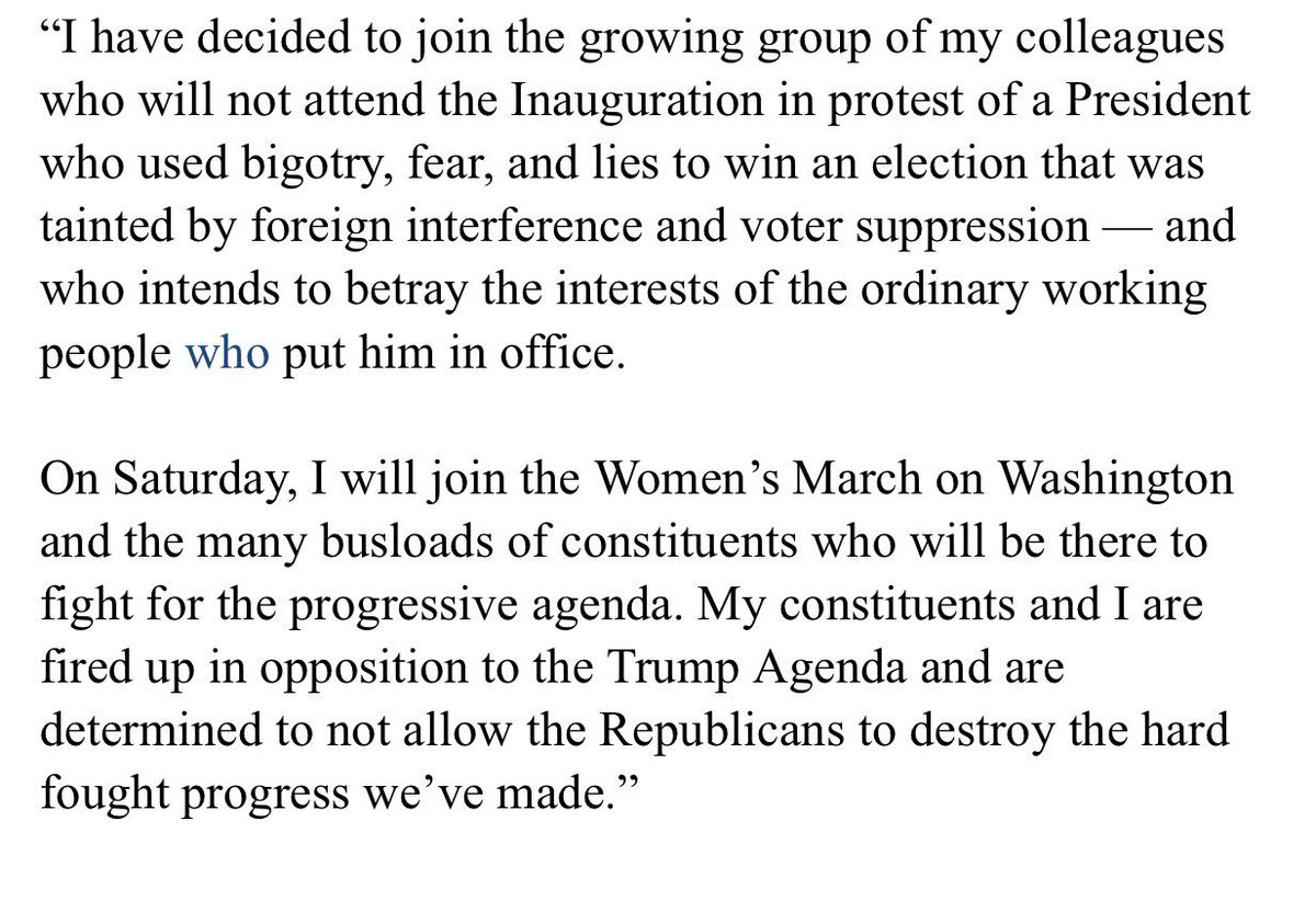 I have decided to join the growing group of my colleagues who will boycott this Friday's Inauguration. https://t.co/5HZt70ZFm9