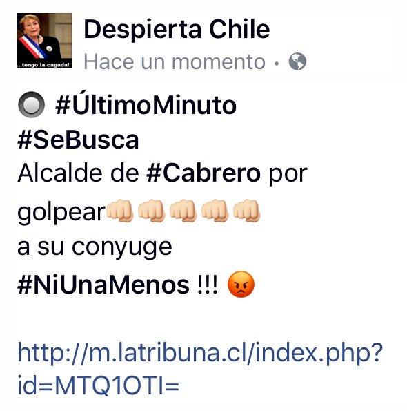 #ÚltimoMinuto #SeBusca Alcalde de #Cabrero por golpear a su conyuge #NiUnaMenos !!!    http:// m.latribuna.cl/index.php?id=M TQ1OTI= &nbsp; … <br>http://pic.twitter.com/5noy8eymUa
