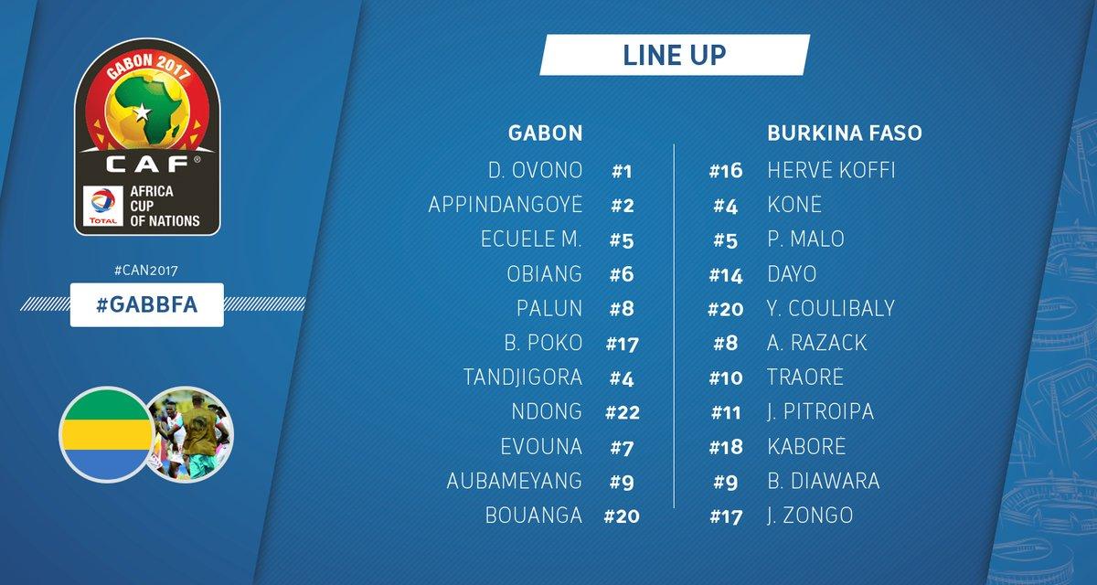 2eme titularisation pour @BouangaDenis ( joueur du @FCLorient en prêt au @ToursFC ) avec le @fegafoot_gabon pour la @CAN2017Gabon #Force <br>http://pic.twitter.com/zAt403Ctcz