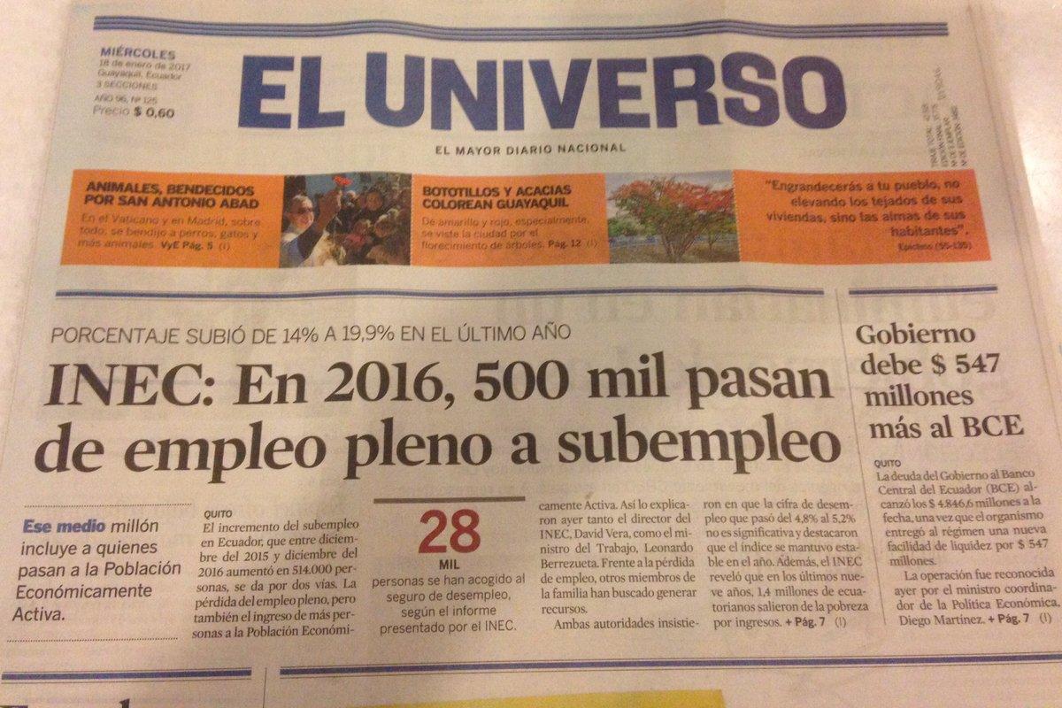El legado del correísmo resumido en dos titulares: más desempleo y más deuda. https://t.co/i8trYw0w1G