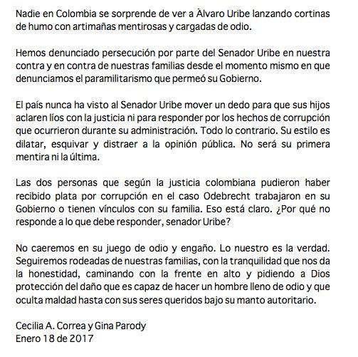 Respuesta a las nuevas calumnias de Uribe: https://t.co/Ka1Y3EfxpZ