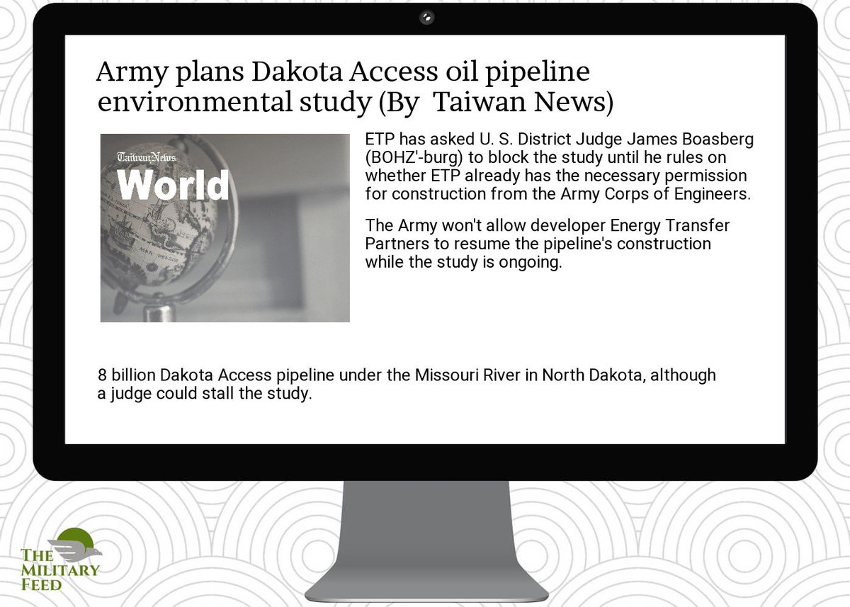 #Defense #News App:  http:// goo.gl/Ggu1EN  &nbsp;   ;  #army plans  #dakota  #access oil  #pipeline environmental  #study<br>http://pic.twitter.com/it1KWiCs8K