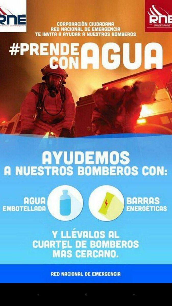 ⚠ Varios Cuerpos de Bomberos en diferentes ciudades llevan días sin parar. Si vives en esos sectores Ayudalos #PrendeconAgua , dale RT