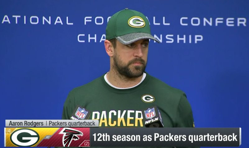 NFL: RT nflnetwork: LIVE: Packers QB AaronRodgers12 is at the podium on NFL Network!  #GoPackGo #GBvsATL #NFLPlayo…