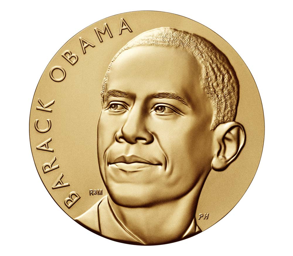 Barack Obama took his durag off right before he modeled for this medal.