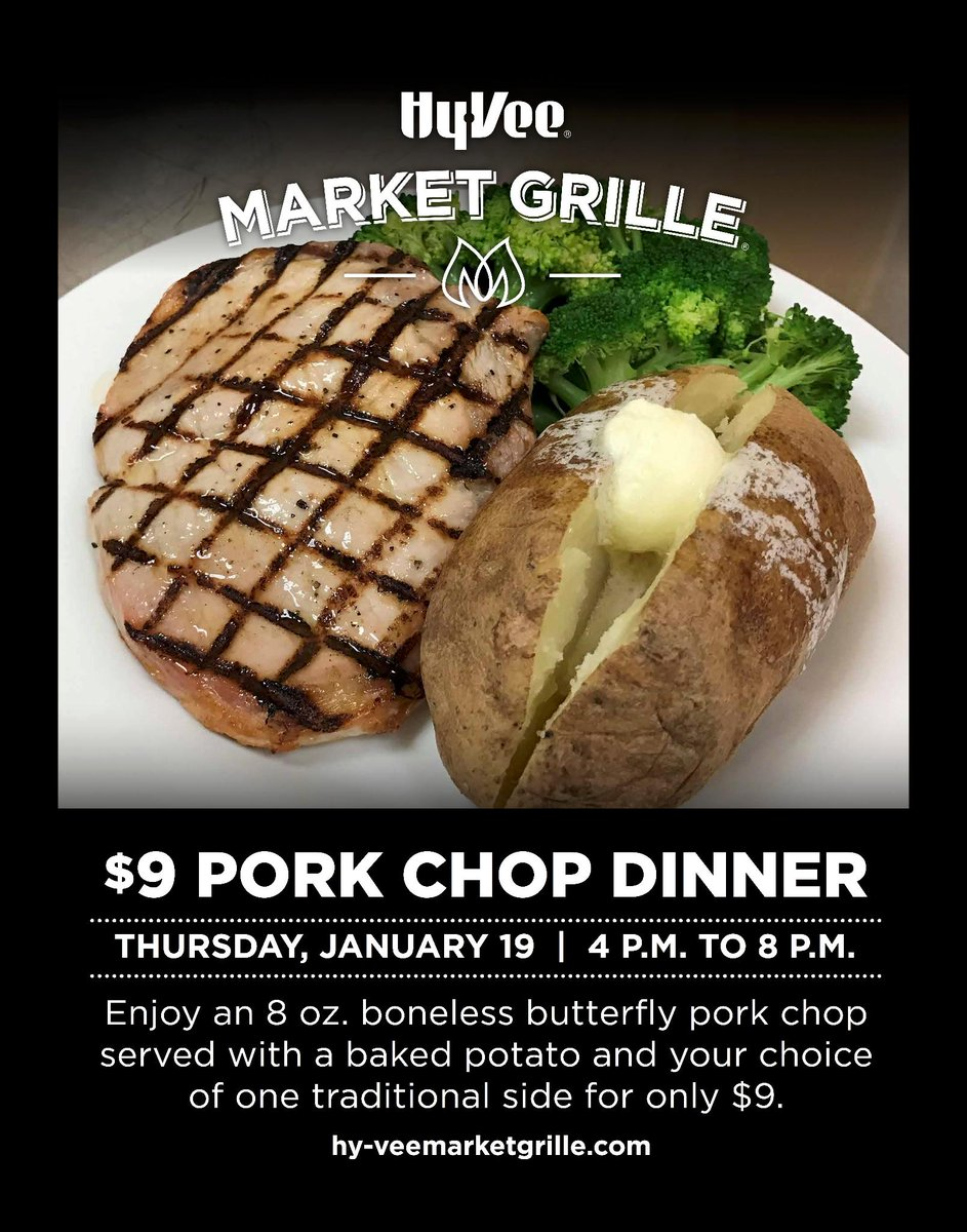 Join us tomorrow night for our $9 Pork Chop Dinner in the Market Grill...