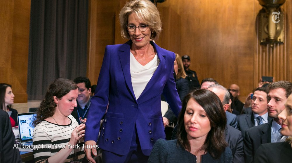Betsy DeVos taking criticism at confirmation hearings questioning her experience, knowledge. https://t.co/PrMuuL2QXG https://t.co/O2SU0f6jiF